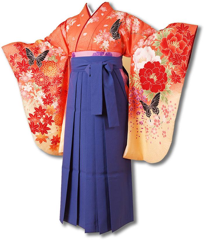 |送料無料||往復送料無料|(13歳くらいの女の子用着物)レンタル十三詣り(十三参り)袴姿フルセット-1329