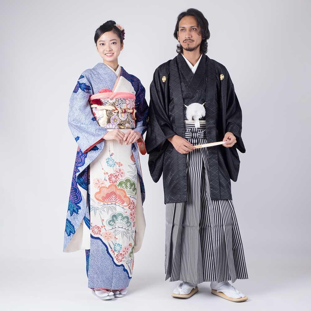  送料無料 【レンタル】【成人式】安心の最大1ヶ月レンタル可能 男性用レンタル紋付き袴フルセット-7005