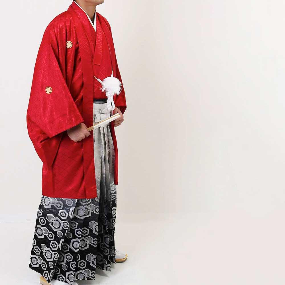  送料無料 【成人式・卒業式】【成人式・卒業式】男性用レンタル紋付き袴フルセット-7118