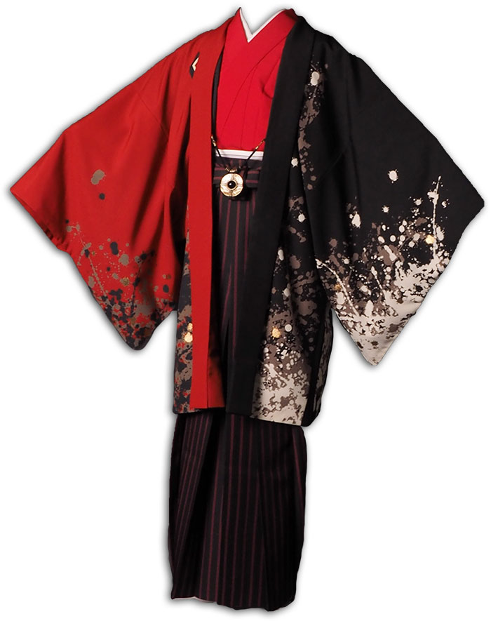 |送料無料|【成人式・卒業式】男性用レンタル羽織袴フルセット-7291