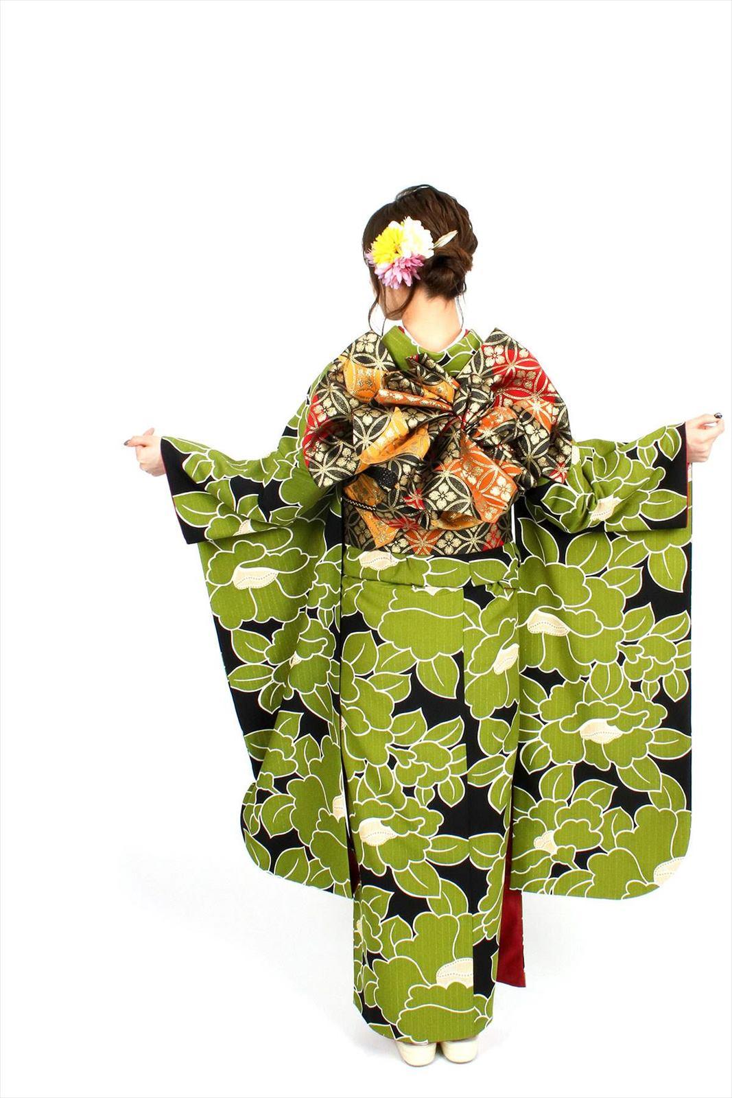 【成人式】 [安心の長期間レンタル]【対応身長155cm〜170cm】【合繊】レンタル振袖フルセット-942|レトロ|花柄|クール系|モダン|緑系|黒