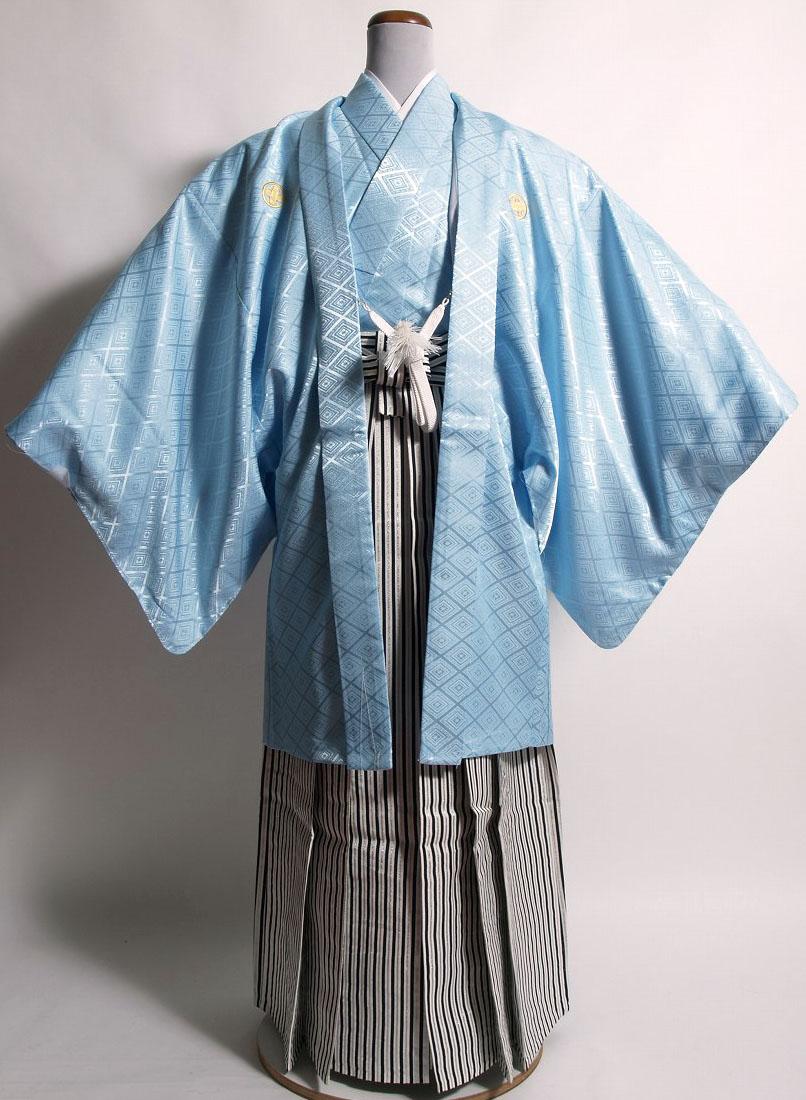 |送料無料|【成人式・卒業式】男性用レンタル紋付き袴フルセット-7006