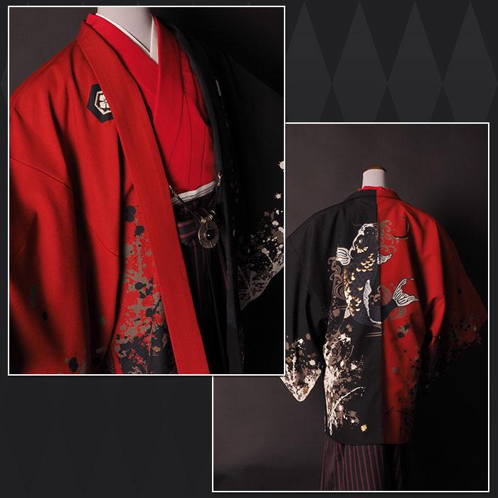 |送料無料|【成人式・卒業式】男性用レンタル羽織袴フルセット-7292