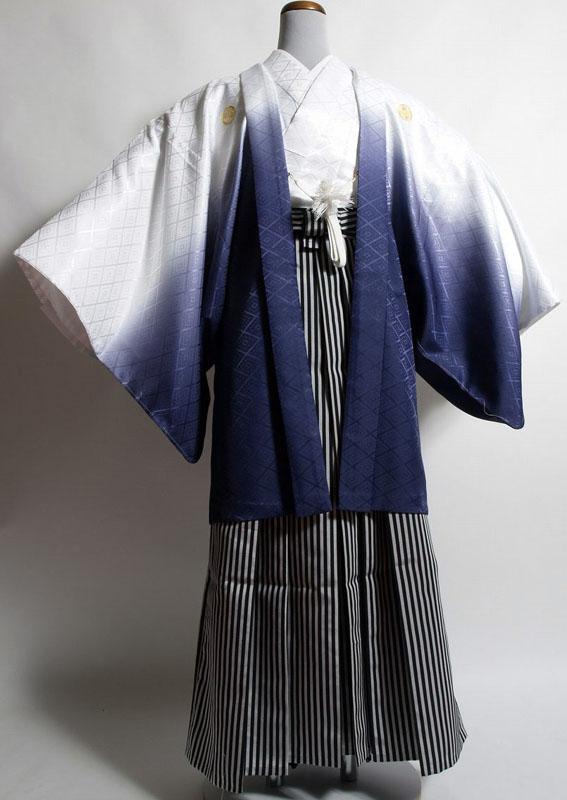 |送料無料|【成人式・卒業式】男性用レンタル紋付き袴フルセット-7007