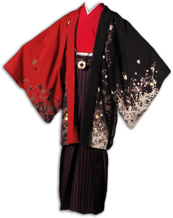 |送料無料|【成人式・卒業式】男性用レンタル羽織袴フルセット-7293|ジャパンスタイル|鯉|黒|赤|