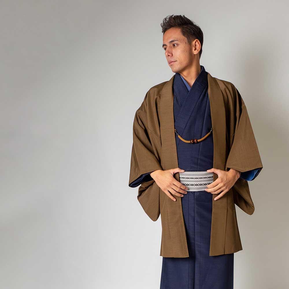 |送料無料|メンズ着物アンサンブル【対応身長160cm〜170cm】【 Sサイズ】フルセットー着物ネイビー×羽織ブラウン|往復送料無料|和服|