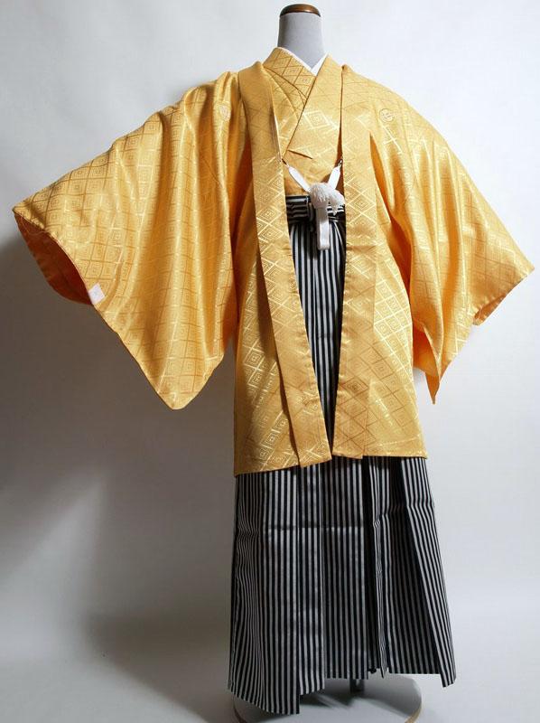 |送料無料|【成人式・卒業式】男性用レンタル紋付き袴フルセット-7008