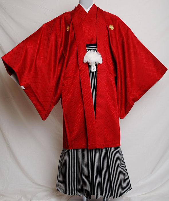 |送料無料|【成人式・卒業式】男性用レンタル紋付き袴フルセット-7121
