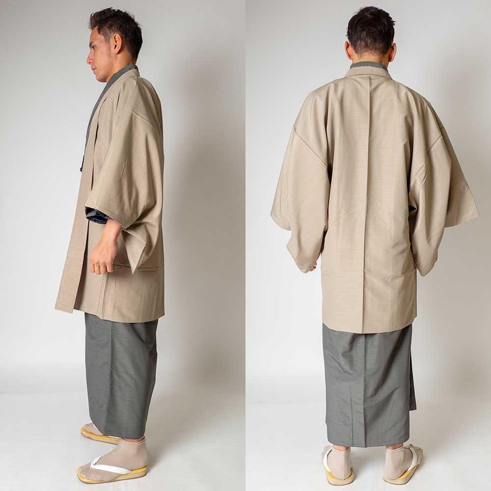 |送料無料|メンズ着物アンサンブル【対応身長170cm〜180cm】【 Lサイズ】フルセットー着物グレー×羽織ベージュ|往復送料無料|和服|お