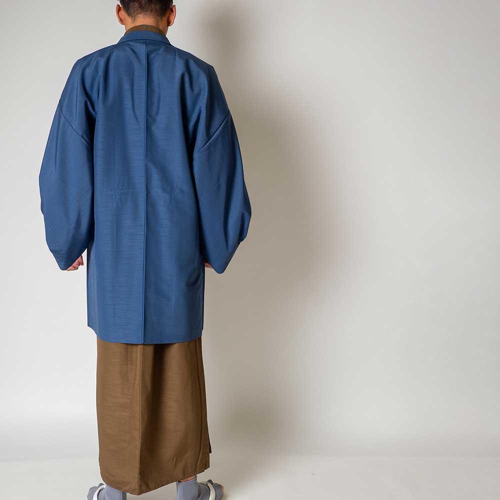 |送料無料|メンズ着物アンサンブル【対応身長175cm〜185cm】【 LLサイズ】フルセットー着物ブラウン×羽織ブルー|往復送料無料|和服|お