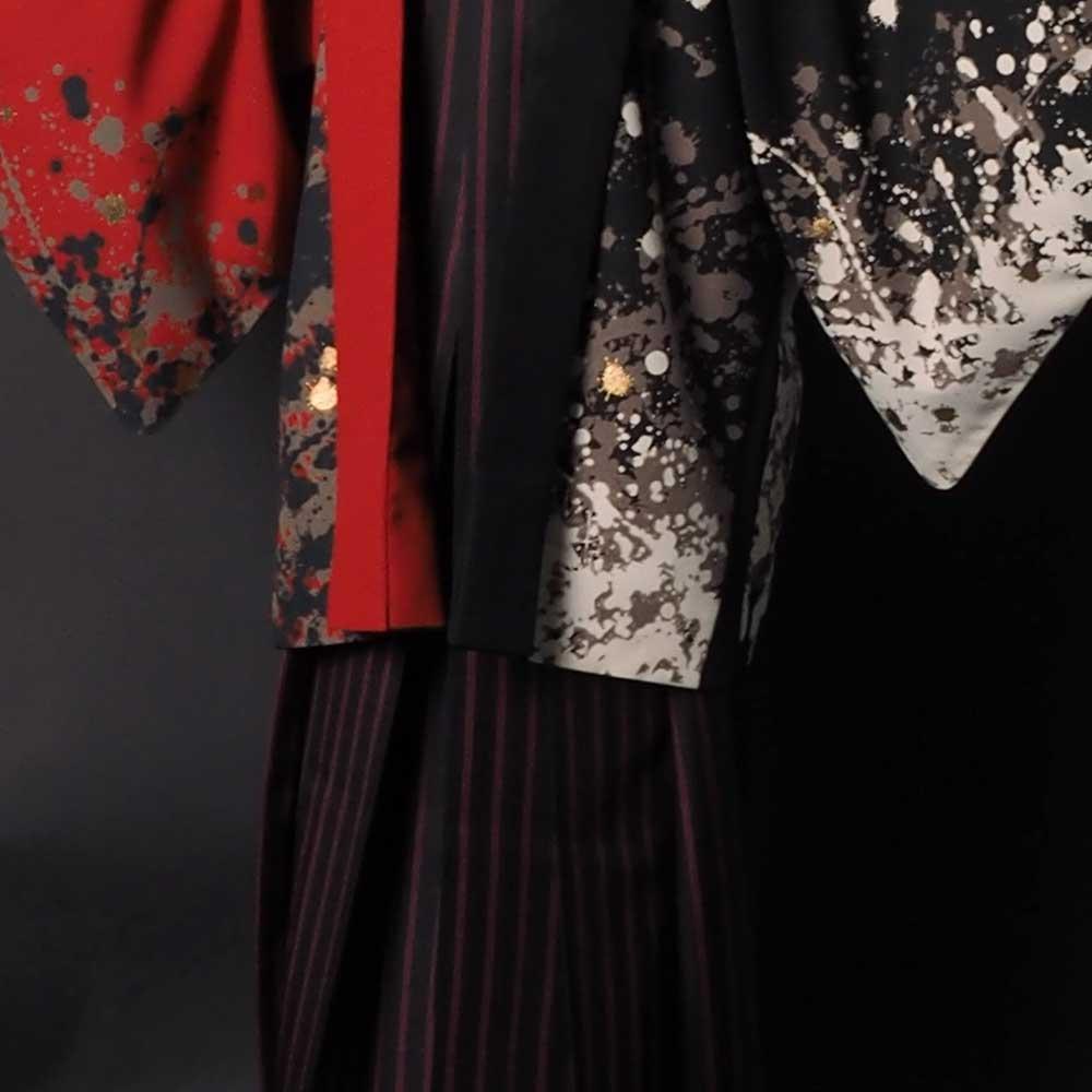 |送料無料|【成人式・卒業式】男性用レンタル羽織袴フルセット-7295|ジャパンスタイル|鯉|黒|赤|