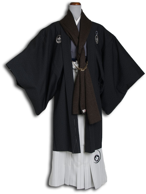 |送料無料|【成人式・卒業式】男性用レンタル紋付き袴フルセット-7123