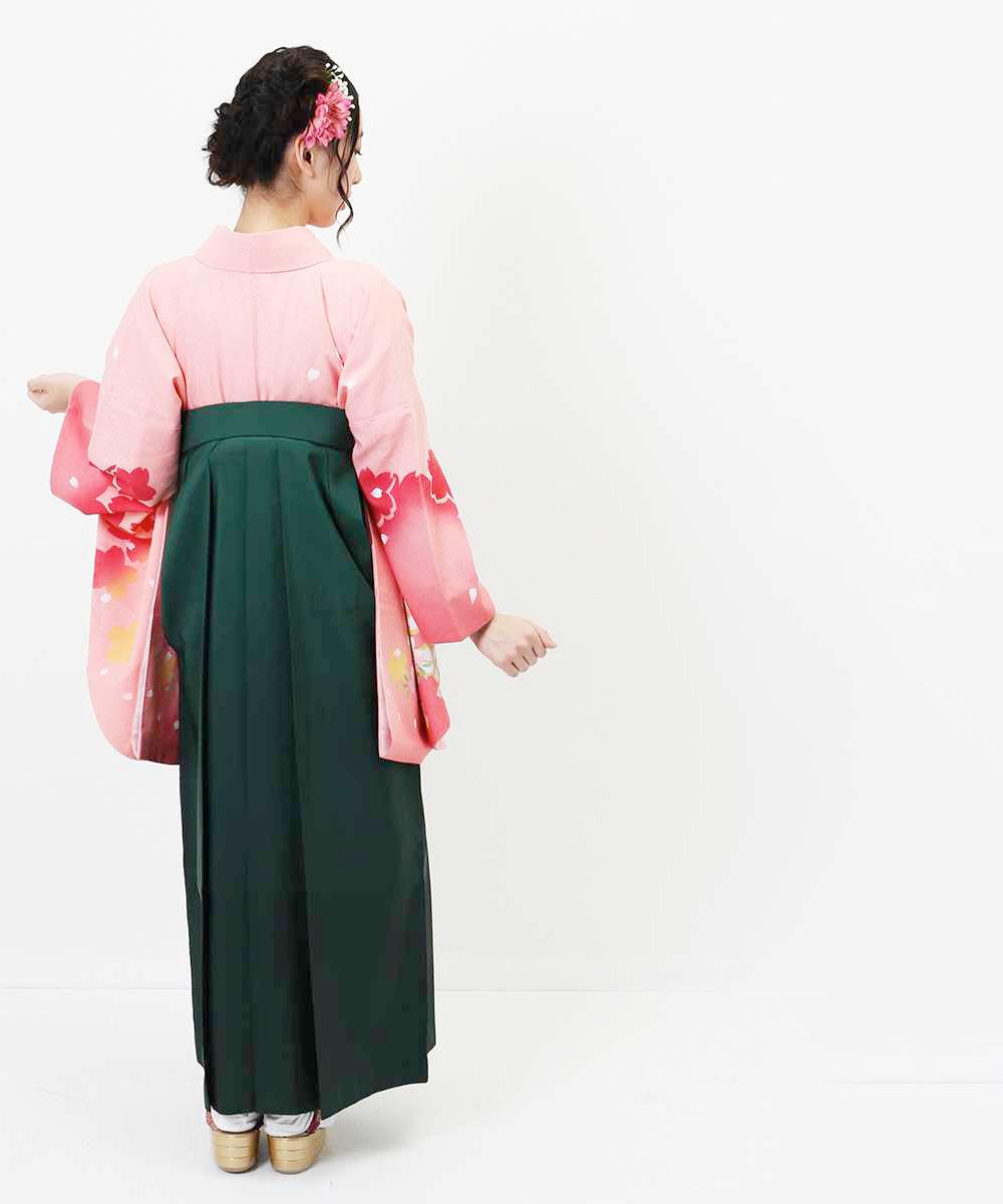 |送料無料|【対応身長157cm〜165cm】【正統派】卒業式レンタル袴フルセット-558|マルチカラー|花柄|桜|ピンク|緑|