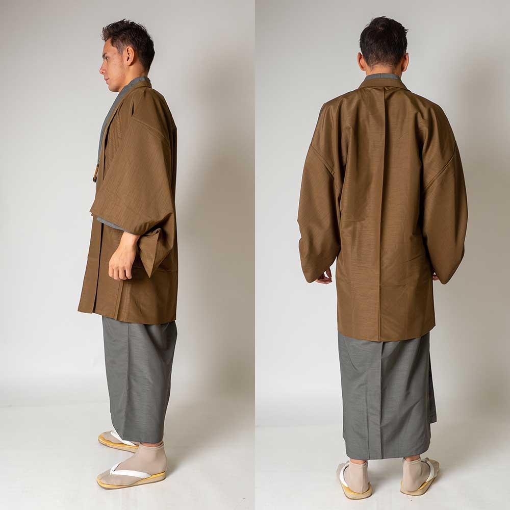 |送料無料|メンズ着物アンサンブル【対応身長165cm〜175cm】【 Mサイズ】フルセットー着物グレー×羽織ブラウン|往復送料無料|和服|お