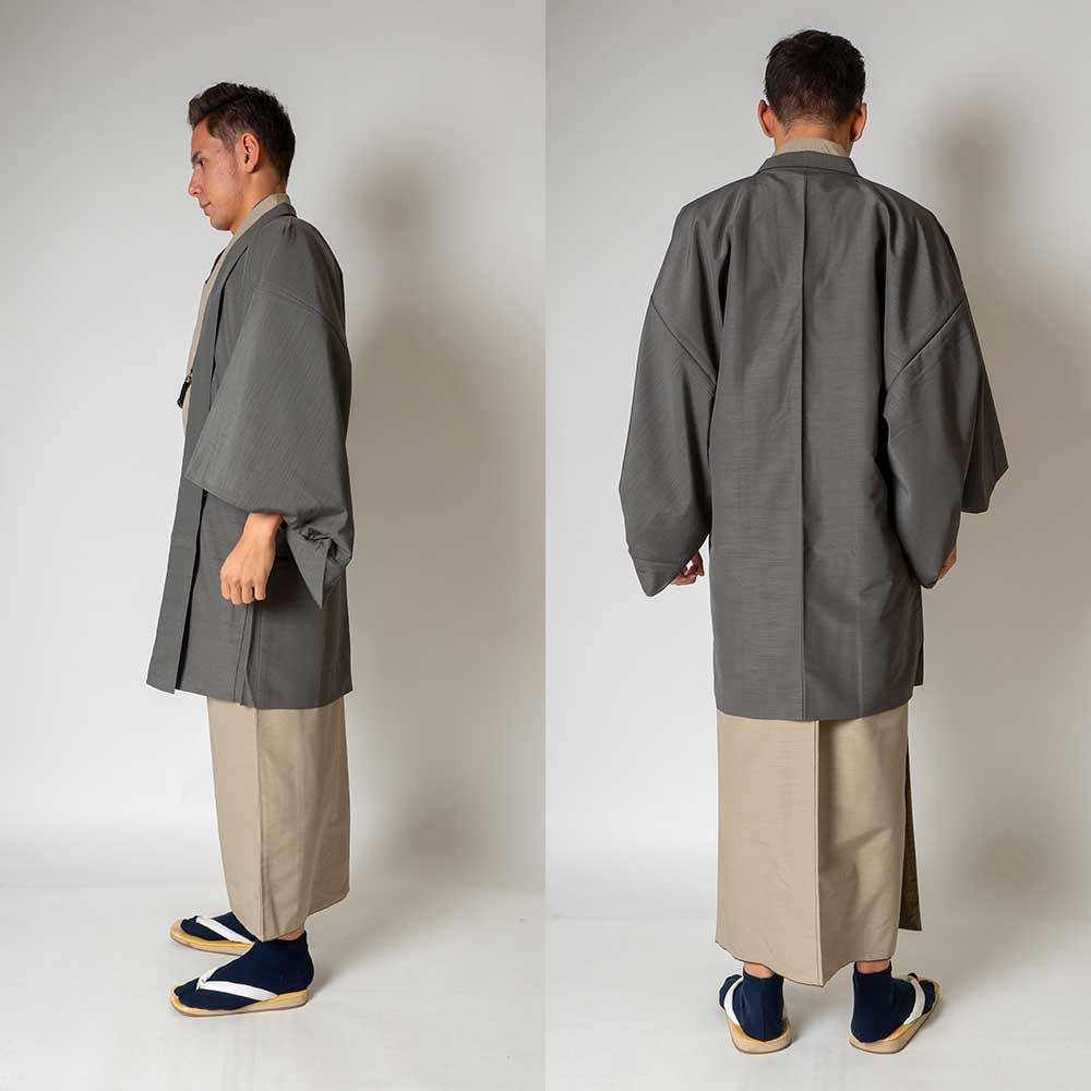 |送料無料|メンズ着物アンサンブル【対応身長165cm〜175cm】【 Mサイズ】フルセットー着物ベージュ×羽織グレー|往復送料無料|和服|お