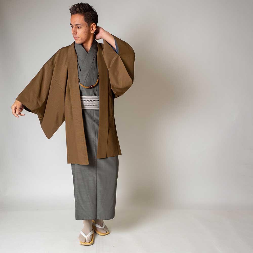 |送料無料|メンズ着物アンサンブル【対応身長170cm〜180cm】【 Lサイズ】フルセットー着物グレー×羽織ブラウン|往復送料無料|和服|お