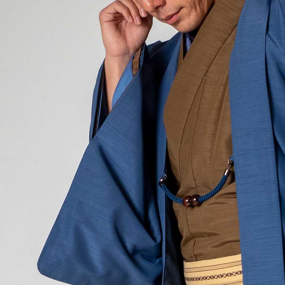 |送料無料|メンズ着物アンサンブル【対応身長160cm〜170cm】【 Sサイズ】フルセットー着物ブラウン×羽織ブルー|往復送料無料|和服|お