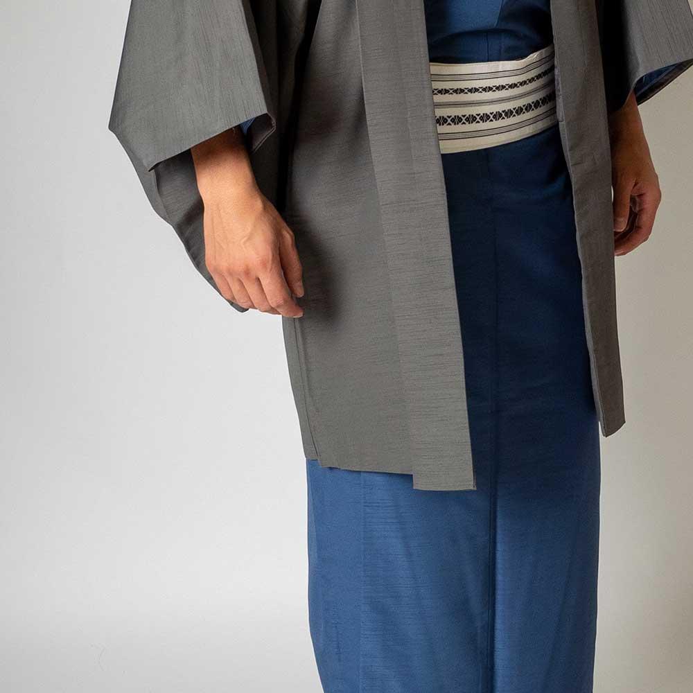 |送料無料|メンズ着物アンサンブル【対応身長170cm〜180cm】【 Lサイズ】フルセットー着物ブルー×羽織グレー|往復送料無料|和服|お正