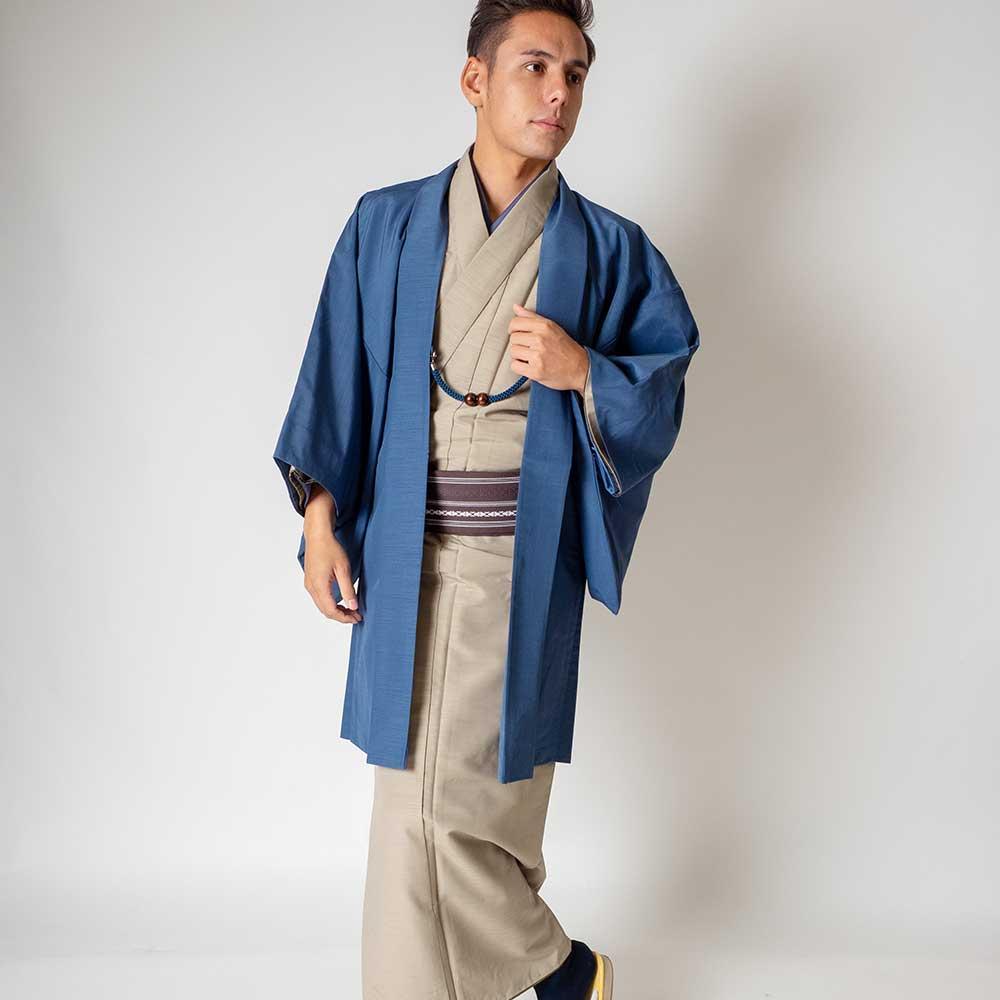 |送料無料|メンズ着物アンサンブル【対応身長175cm〜185cm】【 LLサイズ】フルセットー着物ベージュ×羽織ブルー|往復送料無料|和服|お