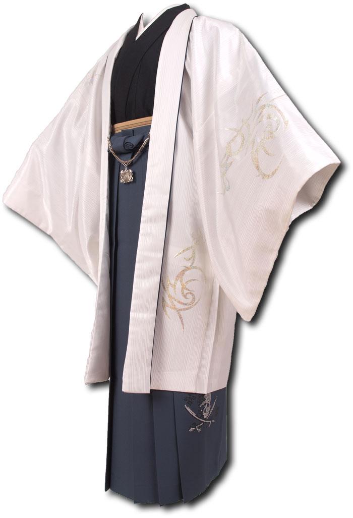 |送料無料|【成人式・卒業式】男性用レンタル紋付き袴フルセット-7013