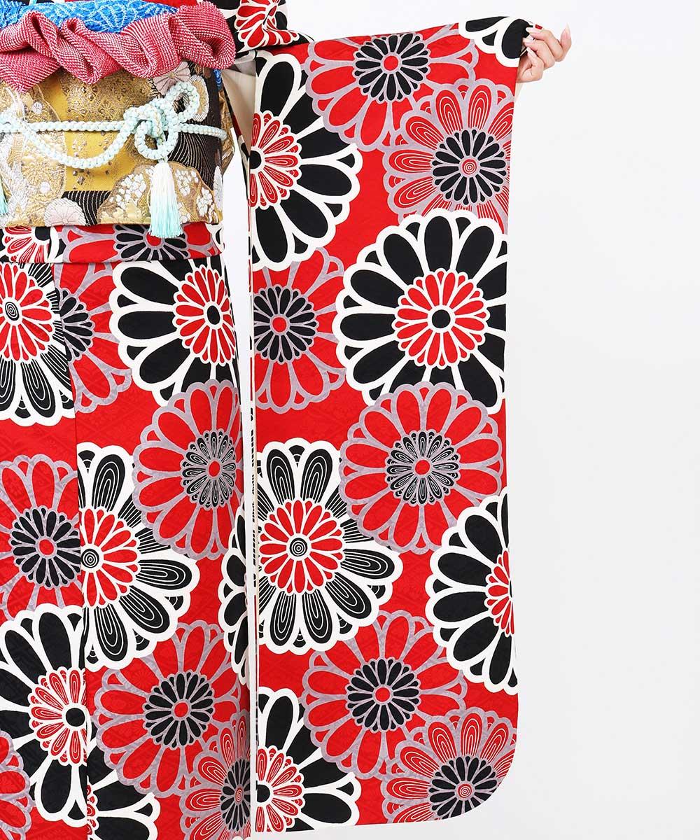|送料無料|【レンタル】【成人式】 [安心の長期間レンタル]【対応身長155cm〜170cm】【正絹】レンタル振袖フルセット-386|花柄|レトロ|
