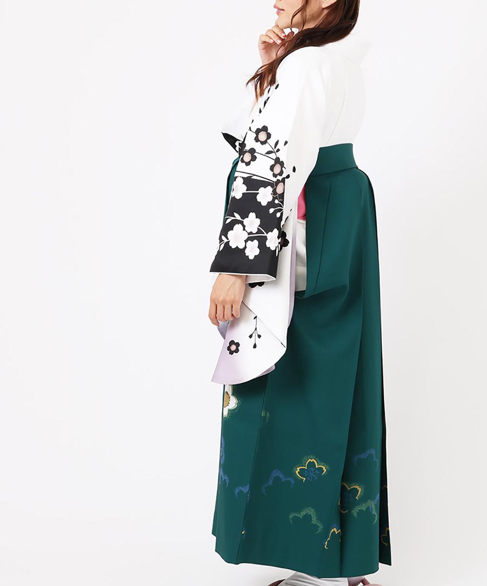 【h】|送料無料|【対応身長150cm〜157cm】【正統派】卒業式レンタル袴フルセット-707|マルチカラー|花柄|桜|白|黒|緑|