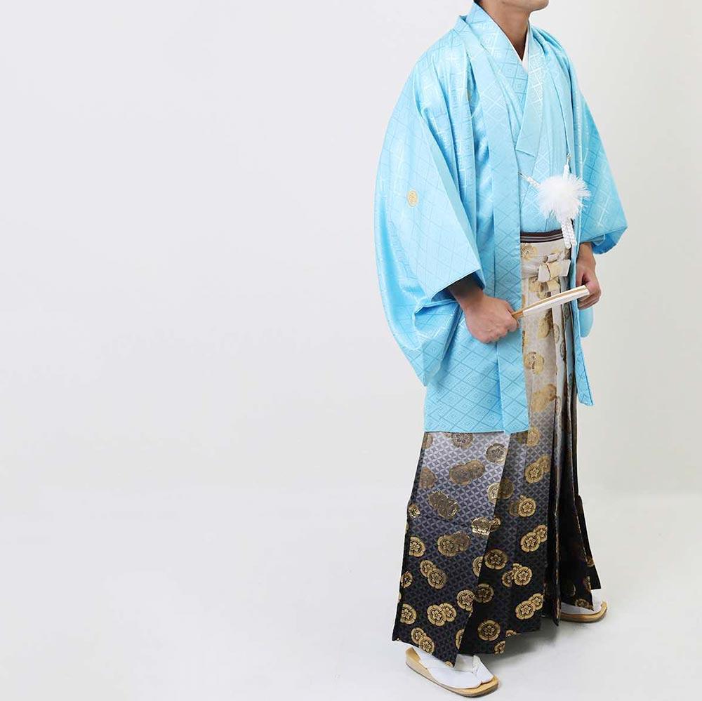 |送料無料|【成人式・卒業式】男性用レンタル紋付き袴フルセット-7014