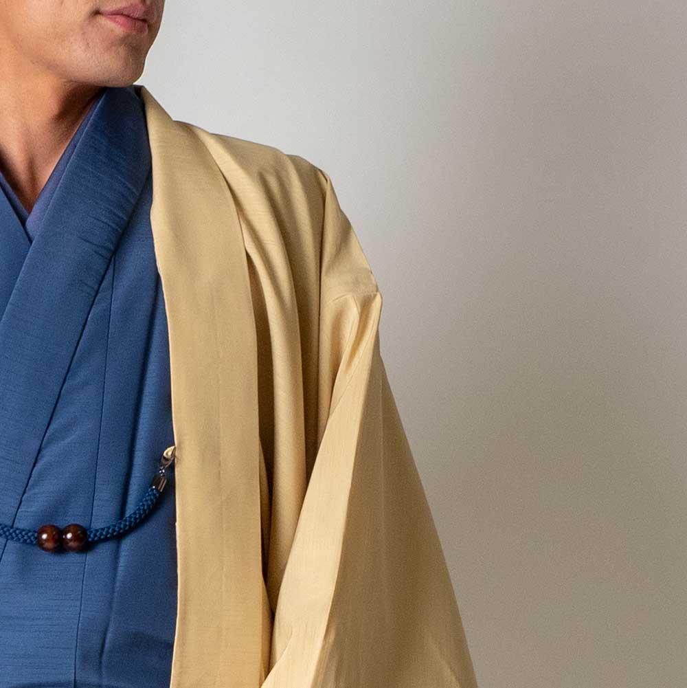 |送料無料|メンズ着物アンサンブル【対応身長170cm〜180cm】【 Lサイズ】フルセットー着物ブルー×羽織アイボリー|往復送料無料|和服|