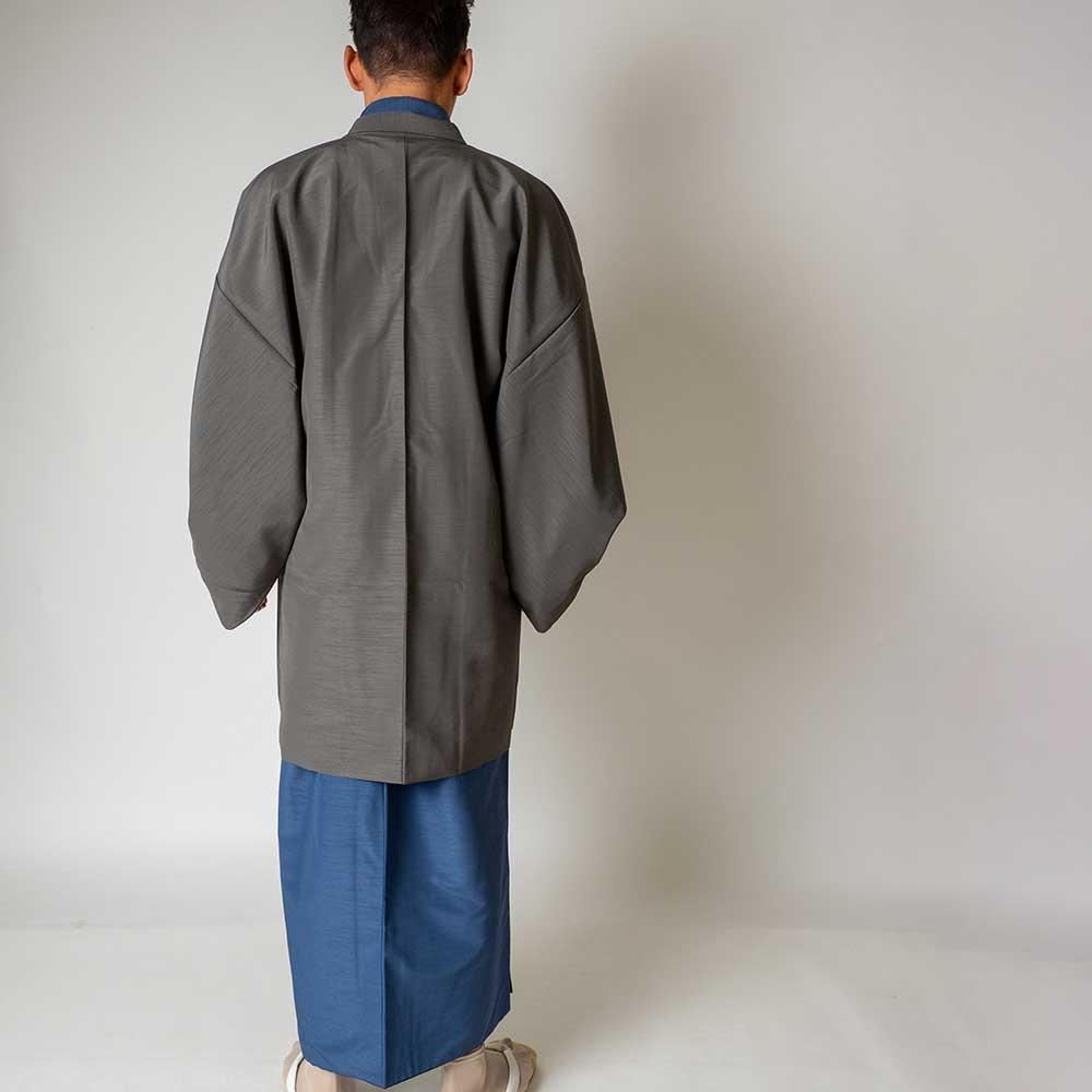 |送料無料|メンズ着物アンサンブル【対応身長165cm〜175cm】【 Mサイズ】フルセットー着物ブルー×羽織グレー|往復送料無料|和服|お正