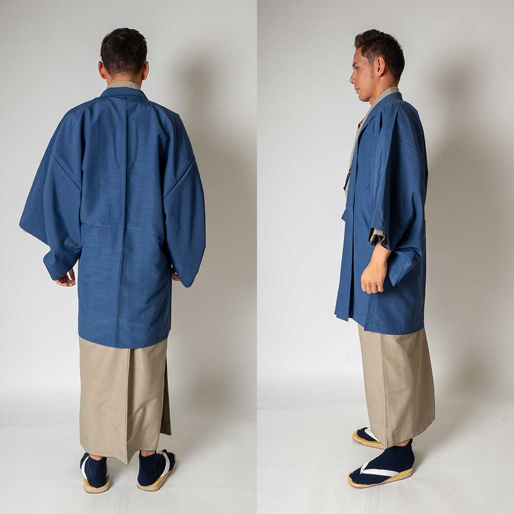 |送料無料|メンズ着物アンサンブル【対応身長165cm〜175cm】【 Mサイズ】フルセットー着物ベージュ×羽織ブルー|往復送料無料|和服|お