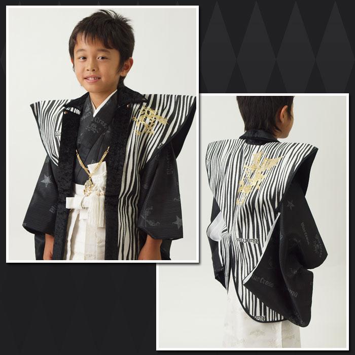 |送料無料||往復送料無料|【レンタル七五三】【BLUE CROSS】 男の子5歳用アンサンブル袴フルセット