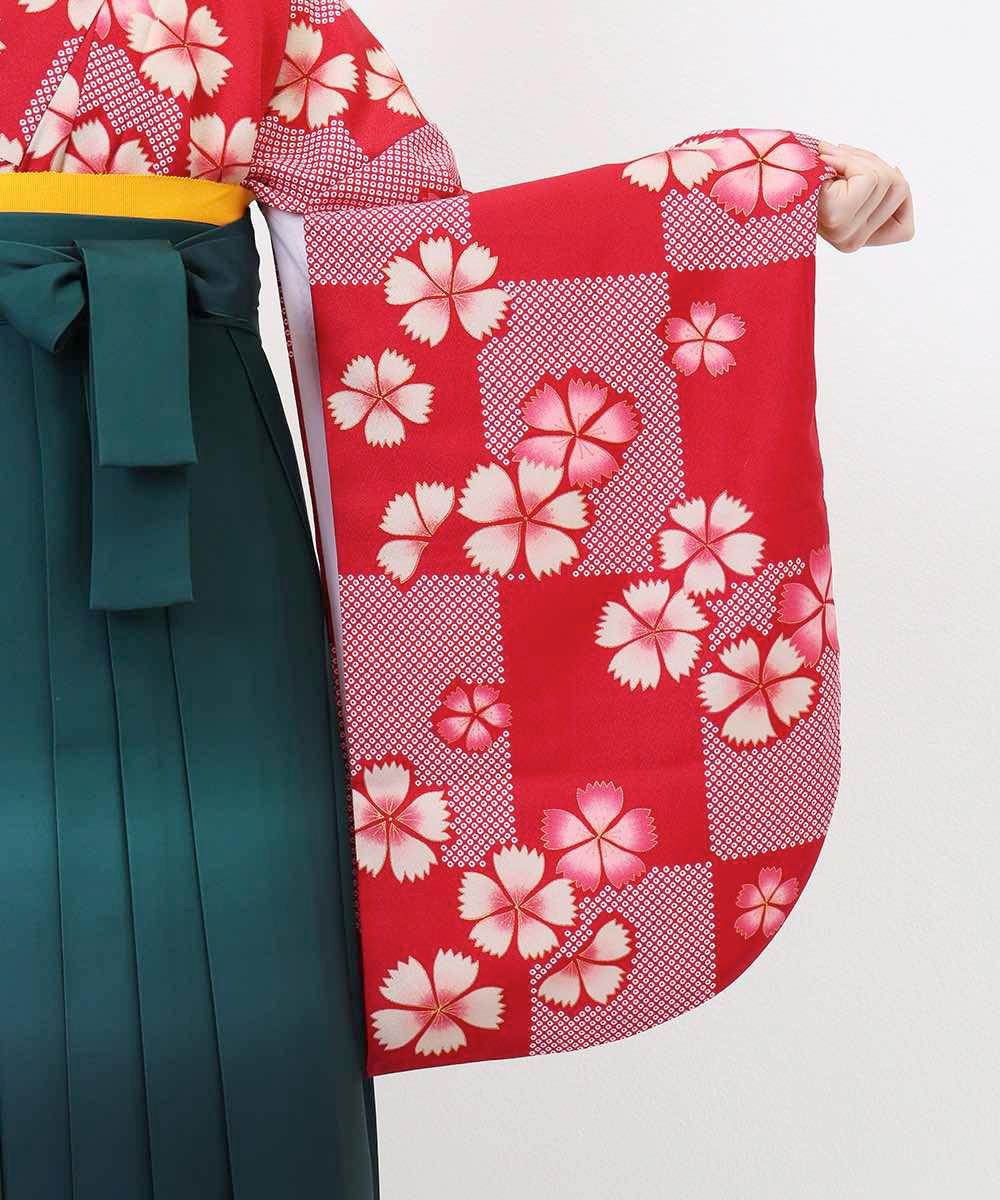 【h】|送料無料|【対応身長157cm〜165cm】【正統派】卒業式レンタル袴フルセット-1013|マルチカラー|花柄|桜|赤|緑|