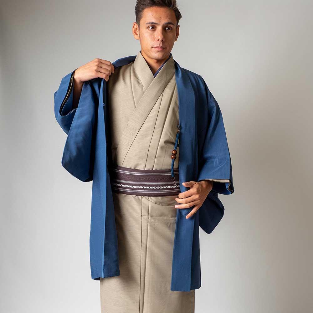 |送料無料|メンズ着物アンサンブル【対応身長160cm〜170cm】【 Sサイズ】フルセットー着物ベージュ×羽織ブルー|往復送料無料|和服|お