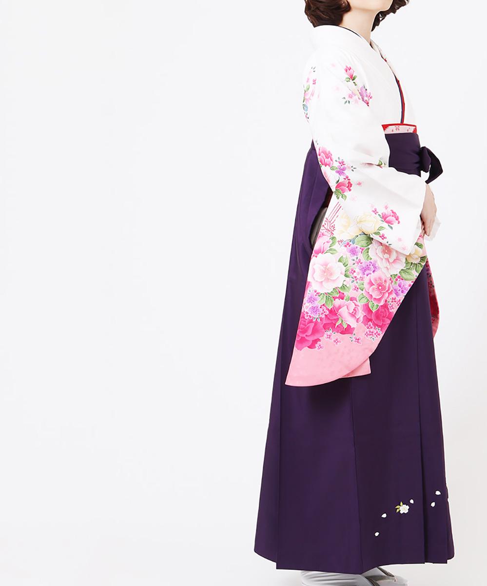 |送料無料|【対応身長157cm〜165cm】【キュート】卒業式レンタル袴フルセット-1137|マルチカラー|花柄|桜|ピンク|赤|白|紫|