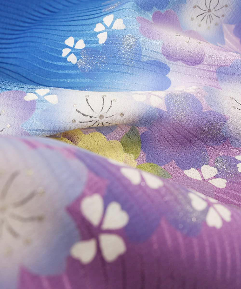 【h】|送料無料|【対応身長157cm〜165cm】【正統派】卒業式レンタル袴フルセット-565|マルチカラー|花柄|桜|青|紫|