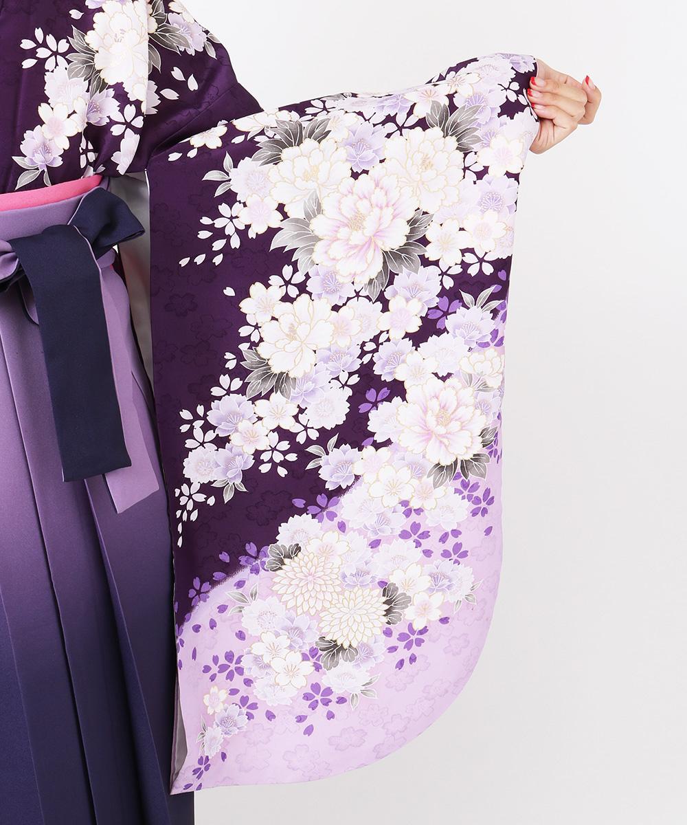 【h】|送料無料|【対応身長157cm〜165cm】【正統派】卒業式レンタル袴フルセット-710|マルチカラー|花柄|牡丹|紫|
