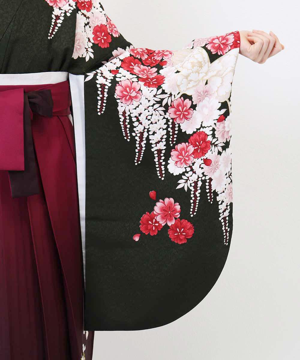 |送料無料|【対応身長157cm〜165cm】【正統派】卒業式レンタル袴フルセット-932|マルチカラー|花柄|桜|黒|赤|ワイン|