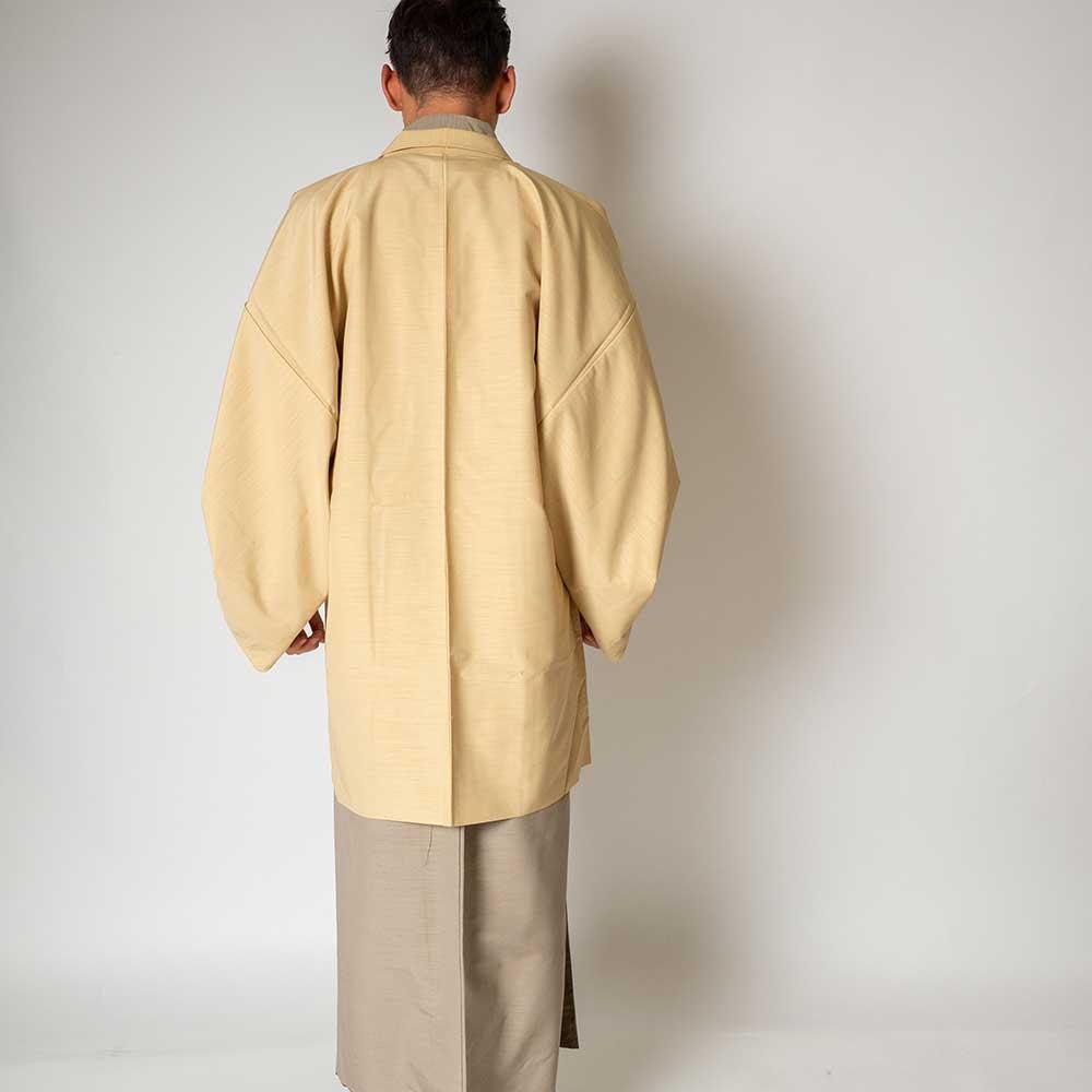  送料無料 メンズ着物アンサンブル【対応身長175cm〜185cm】【 LLサイズ】フルセットー着物ベージュ×羽織アイボリー 往復送料無料 和