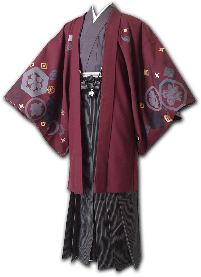 |送料無料|【成人式・卒業式】男性用レンタル紋付き袴フルセット-7131
