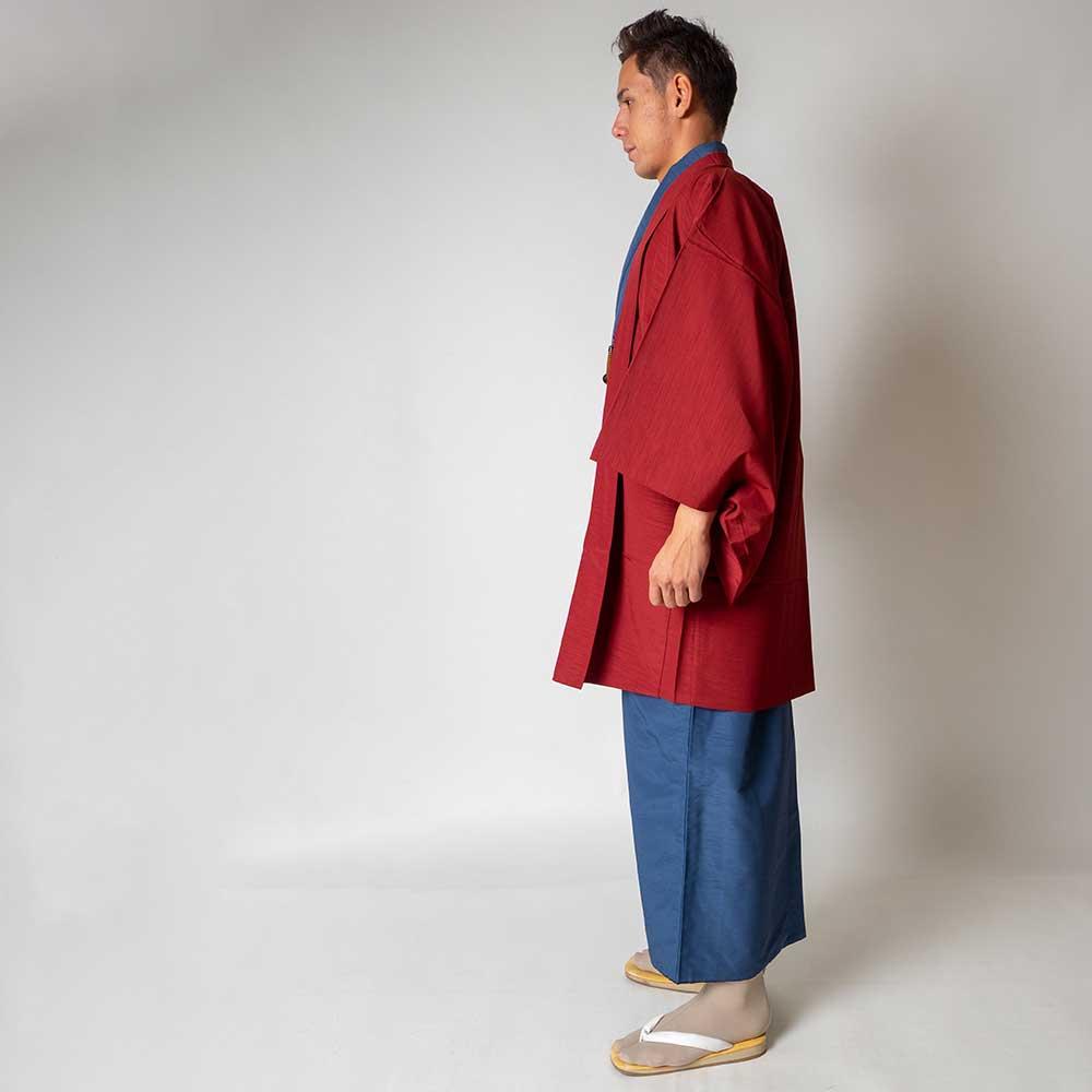 |送料無料|メンズ着物アンサンブル【対応身長170cm〜180cm】【 Lサイズ】フルセットー着物ブルー×羽織レッド|往復送料無料|和服|お正