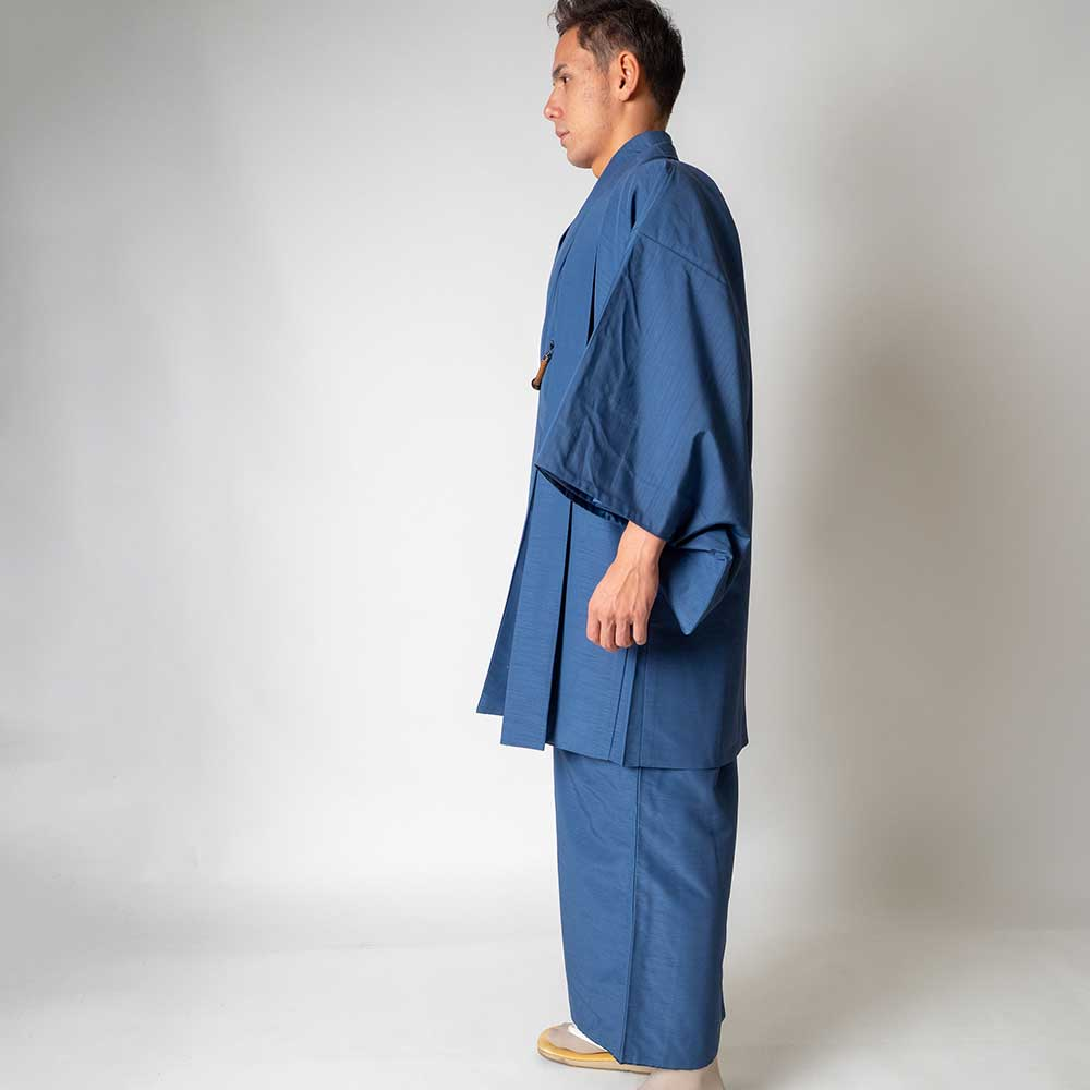 |送料無料|メンズ着物アンサンブル【対応身長165cm〜175cm】【 Mサイズ】フルセットー着物ブルー×羽織ブルー|往復送料無料|和服|お正