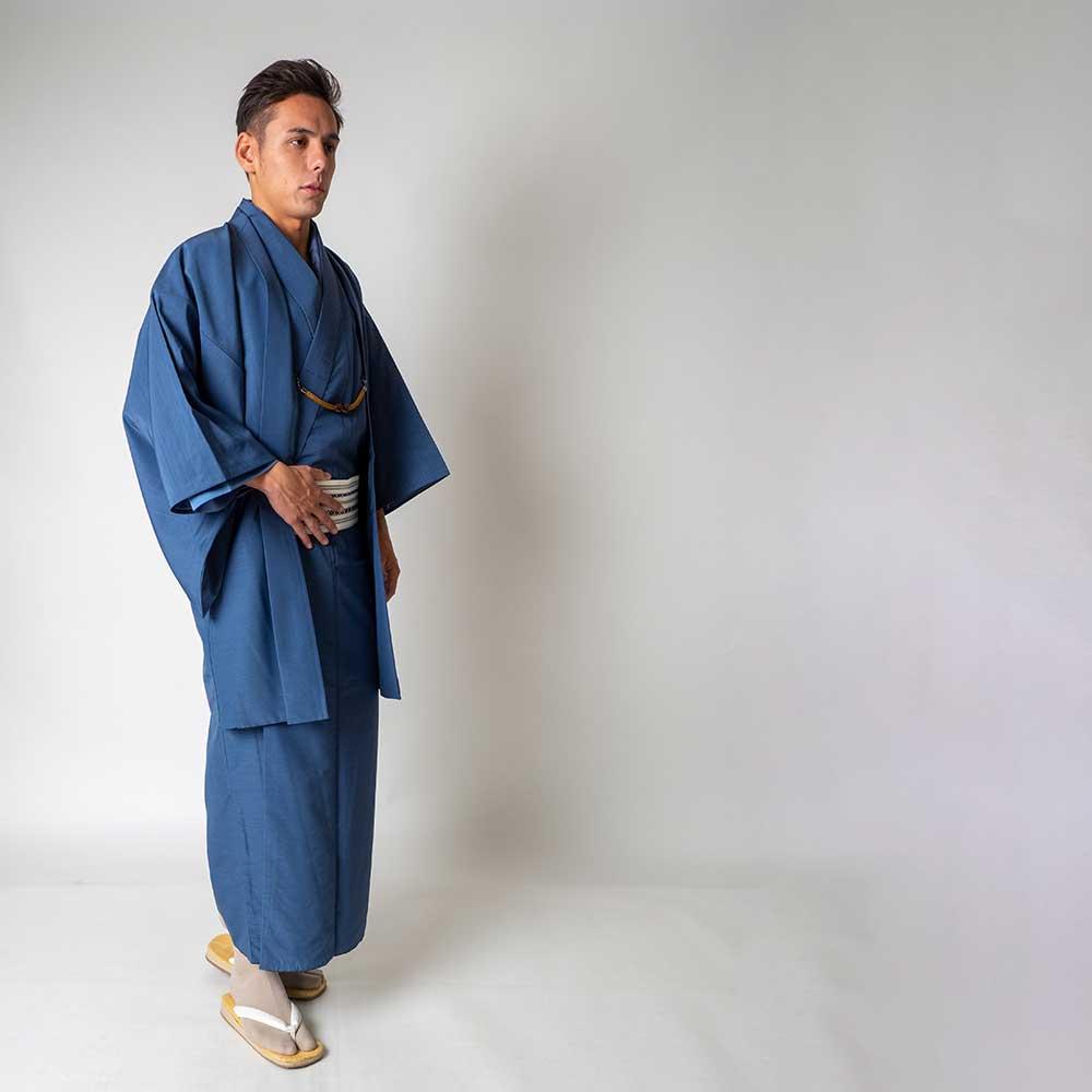  送料無料 メンズ着物アンサンブル【対応身長165cm〜175cm】【 Mサイズ】フルセットー着物ブルー×羽織ブルー 往復送料無料 和服 お正