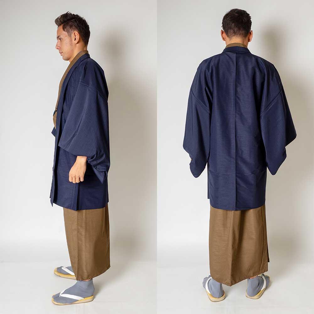 |送料無料|メンズ着物アンサンブル【対応身長165cm〜175cm】【 Mサイズ】フルセットー着物ブラウン×羽織ネイビー|往復送料無料|和服|
