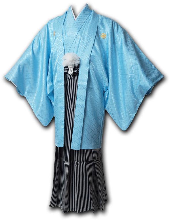 |送料無料|【成人式・卒業式】男性用レンタル紋付き袴フルセット-7019