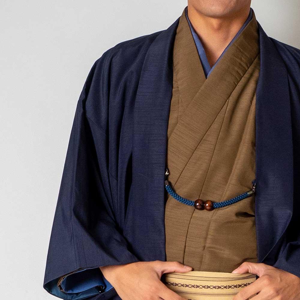 |送料無料|メンズ着物アンサンブル【対応身長160cm〜170cm】【 Sサイズ】フルセットー着物ブラウン×羽織ネイビー|往復送料無料|和服|