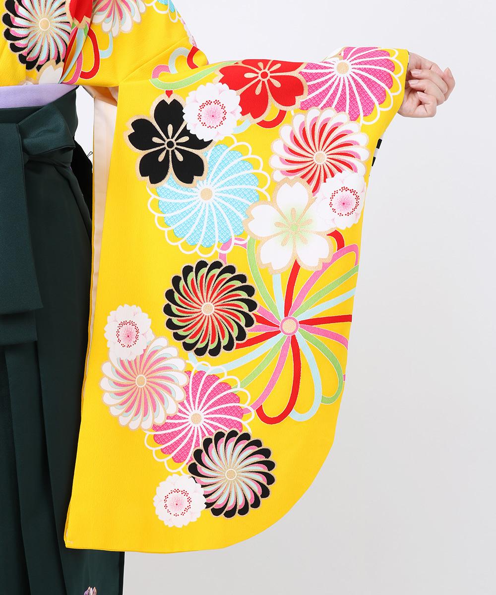【h】|送料無料|【対応身長157cm〜165cm】【キュート】卒業式レンタル袴フルセット-1248|マルチカラー|花柄|黄色|水色|ピンク|緑
