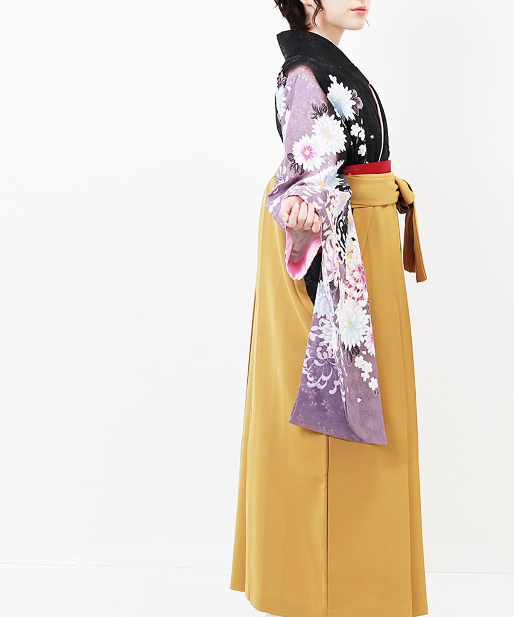 |送料無料|【対応身長150cm〜157cm】【正統派】卒業式レンタル袴フルセット-714|マルチカラー|花柄|菊|黒|紫|黄色|からし色|