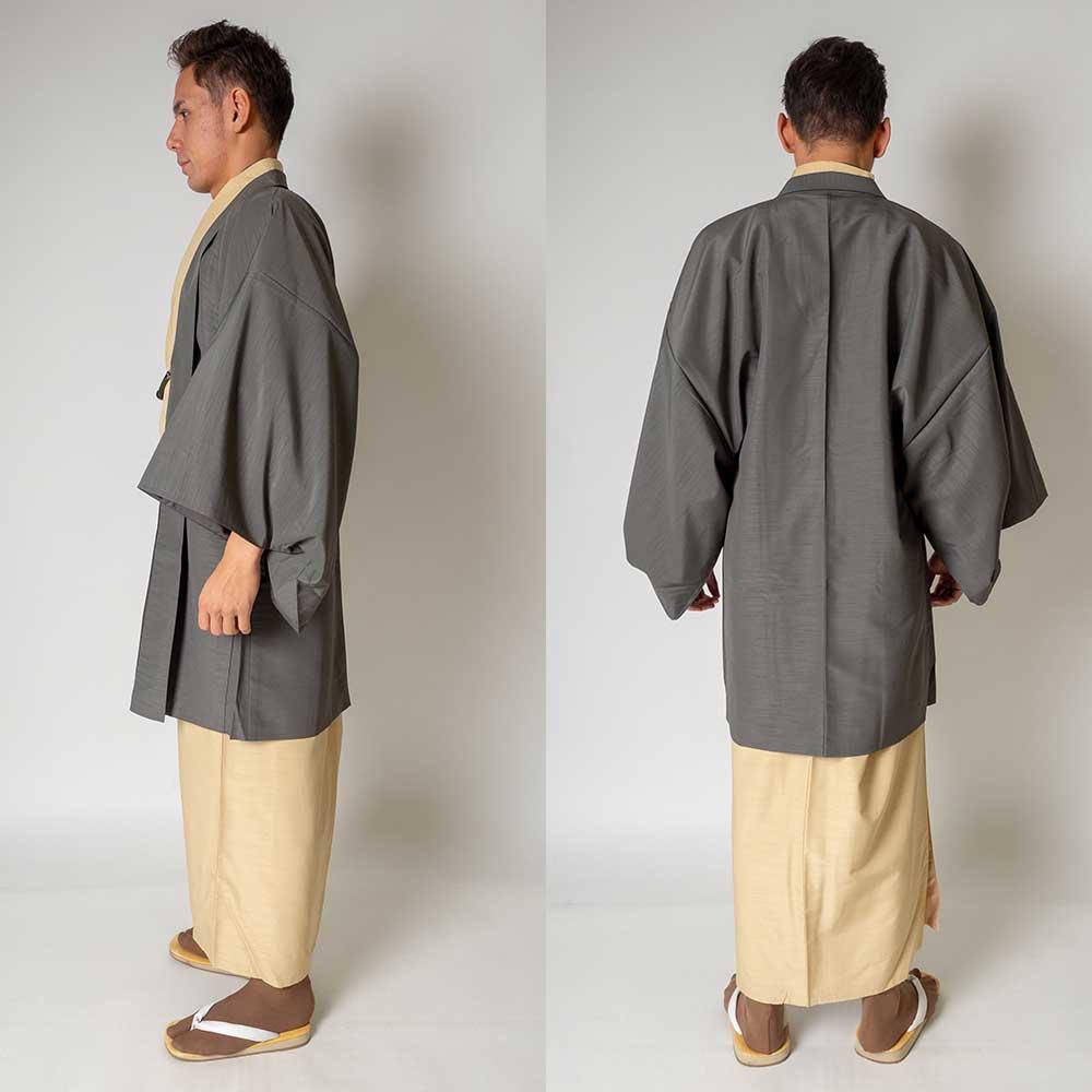 |送料無料|メンズ着物アンサンブル【対応身長170cm〜180cm】【 Lサイズ】フルセットー着物アイボリー×羽織グレー|往復送料無料|和服|