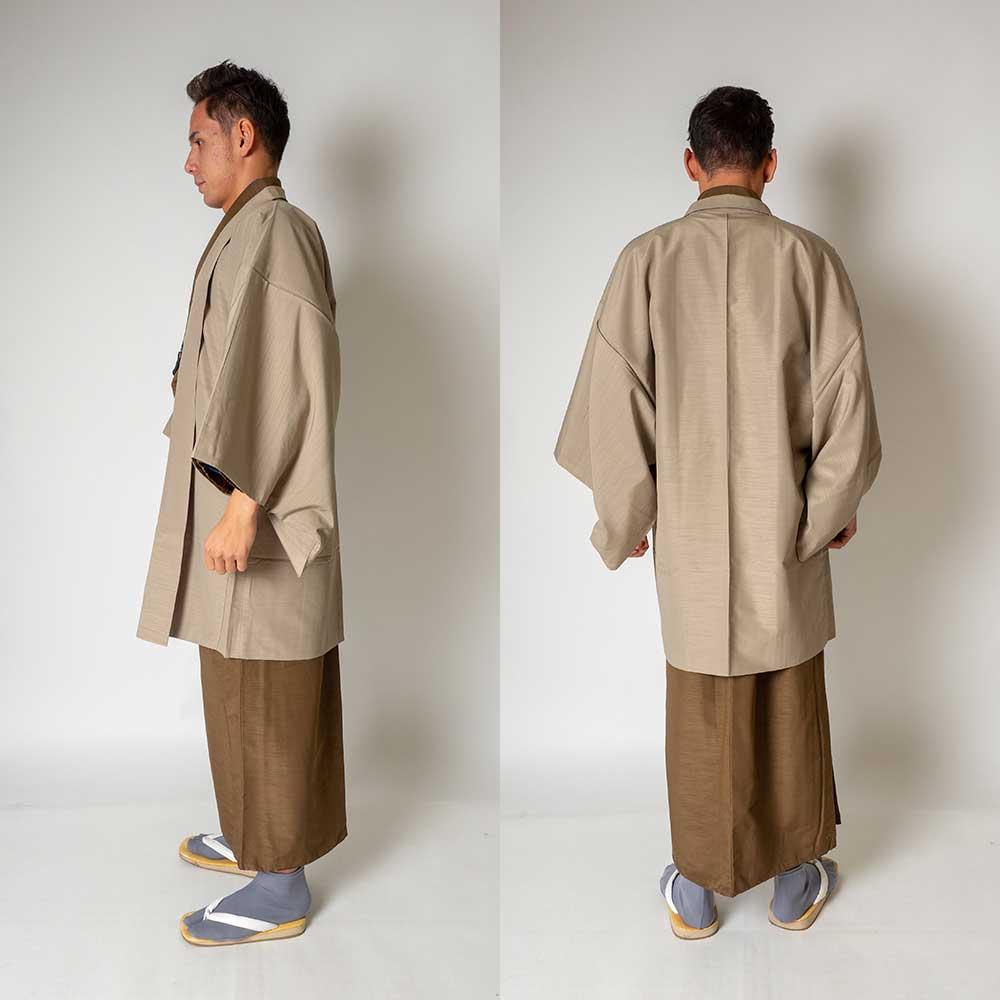 |送料無料|メンズ着物アンサンブル【対応身長175cm〜185cm】【 LLサイズ】フルセットー着物ブラウン×羽織ベージュ|往復送料無料|和服|