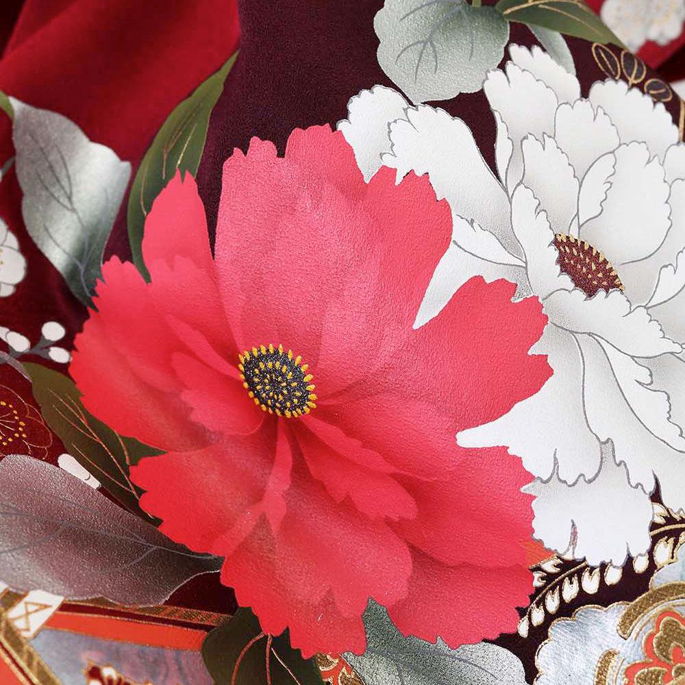 |送料無料|【レンタル】【成人式】 [安心の長期間レンタル]【対応身長155cm〜170cm】【正絹】レンタル振袖フルセット-016|花柄|レトロ|